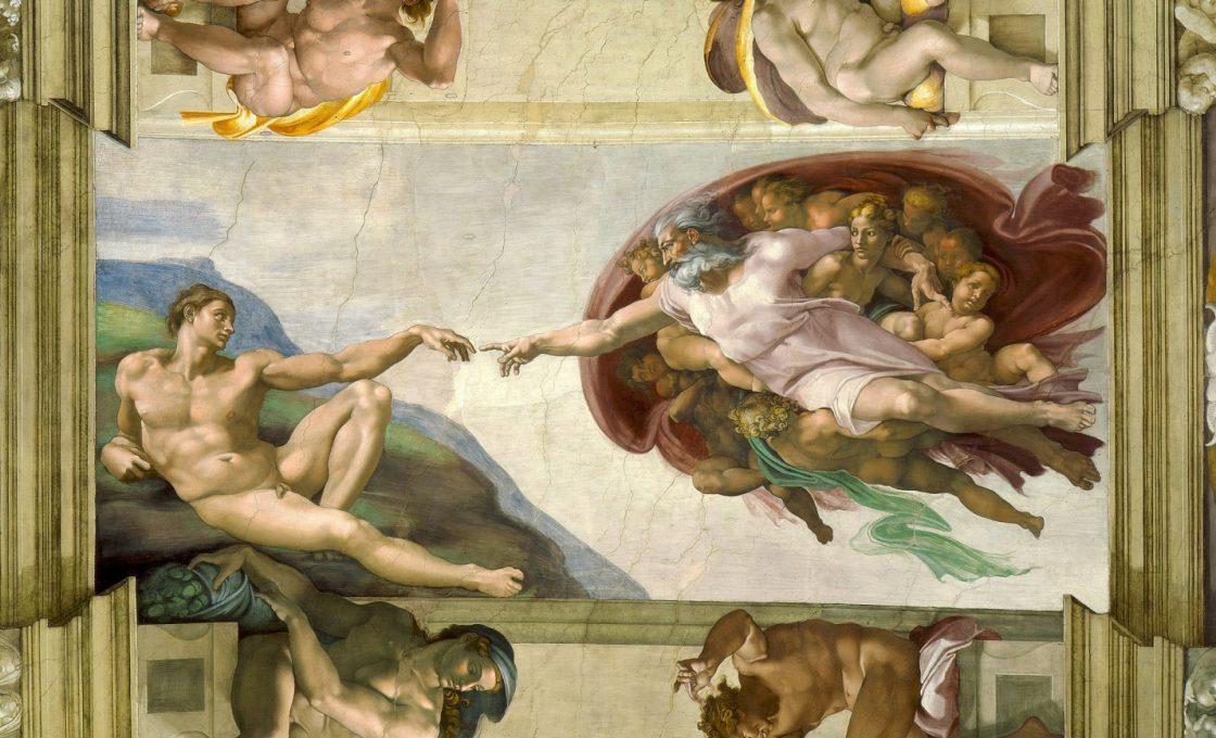 Микеланджело Сотворение Адама (фрагмент росписи потолка Сикстинской капеллы)